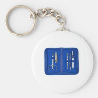 manicure set basic round button keychain