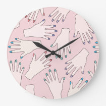 Manicured Hands Nail Studio Pink Pastel Pattern Large Clock