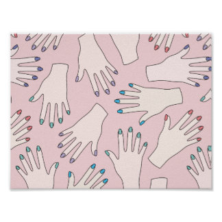 Manicured Hands Nail Studio Pink Pastel Pattern Poster