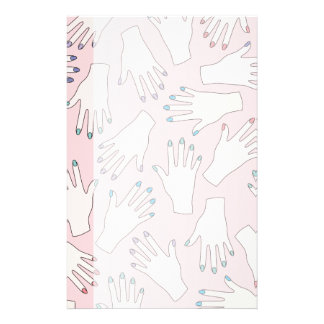 Manicured Hands Nail Studio Pink Pastel Pattern Stationery