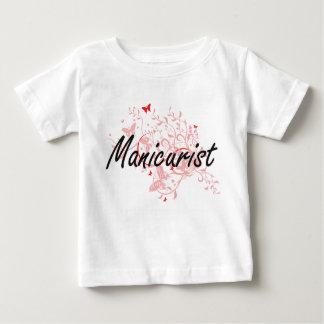 Manicurist Artistic Job Design with Butterflies Baby T-Shirt