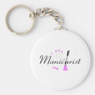 Manicurist Basic Round Button Keychain