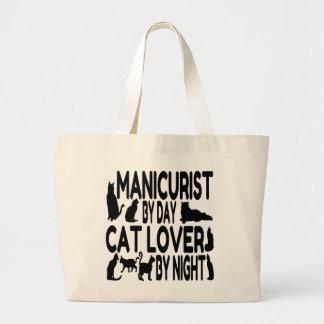 Manicuro del amante del gato bolsa tela grande