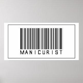 Manicuro del código de barras póster