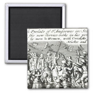 Manifestantes en Edimburgo, 1637 Imán Cuadrado