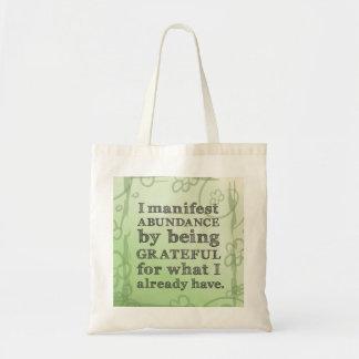 Manifiesto abundancia siendo afirmación agradecida bolsas