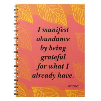 Manifiesto abundancia siendo afirmación agradecida libro de apuntes con espiral
