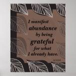 Manifiesto abundancia siendo afirmación agradecida impresiones