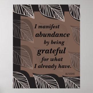 Manifiesto abundancia siendo afirmación agradecida póster