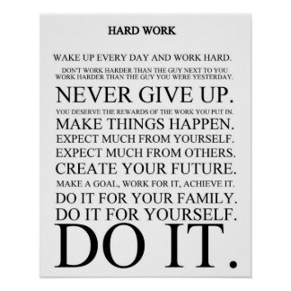 Manifiesto del trabajo duro póster