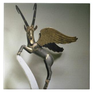 Manija bajo la forma de cabra montés con alas, Ach Azulejo Cerámica