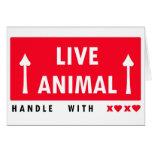 Manija del pegatina del animal vivo con amor felicitaciones