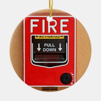 Manija la alarma de incendio adorno navideño redondo de cerámica