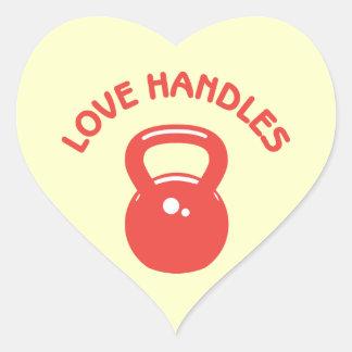 Manijas del amor pegatina en forma de corazón