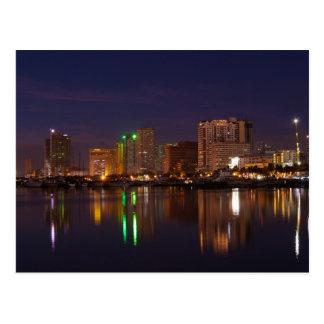 Manila bay nightscape postcard