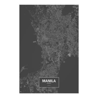Manila, Philippines (white on black) Poster
