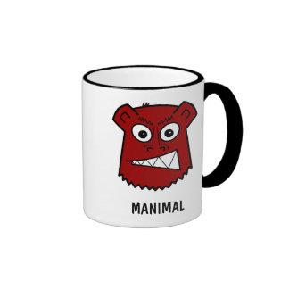 Manimal red ringer coffee mug