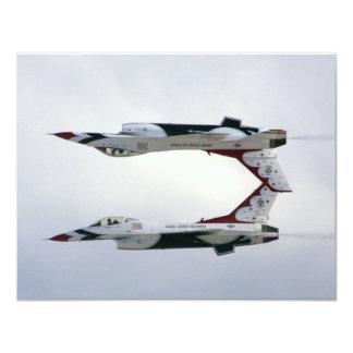 Maniobra de los Thunderbirds F-16 - invertida Invitación 10,8 X 13,9 Cm