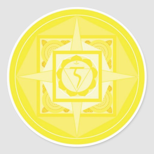 Manipura Chakra Mandala (plexo solar Chakra) Pegatina Redonda