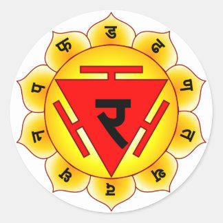 Manipura el plexo solar Chakra Pegatina Redonda