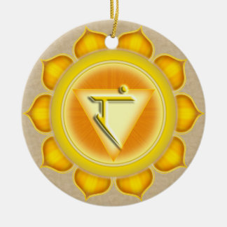 Manipura or Solar Plexus the 3rd Chakra Double-Sided Ceramic Round Christmas Ornament