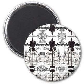 Maniquí blanco negro de la moda de París Imán Redondo 5 Cm