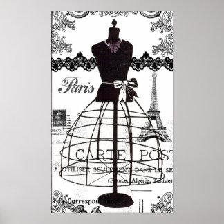 Maniquí blanco negro de la moda de París Póster