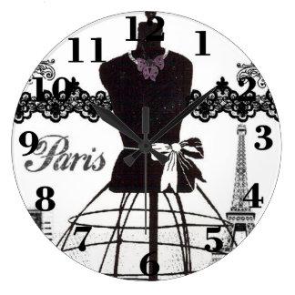 Maniquí blanco negro de la moda de París Reloj Redondo Grande
