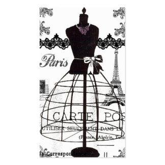 Maniquí blanco negro de la moda de París Tarjetas De Visita