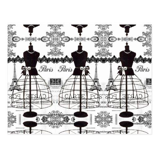 Maniquí blanco negro de la moda de París Tarjetas Postales