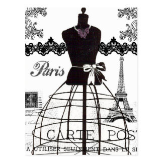 Maniquí blanco negro de la moda de París Postales