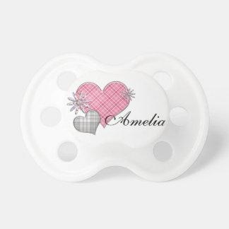Maniquí personalizado con las flores de los corazo chupetes para bebés