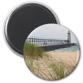Manistee Lighthouse 2 Inch Round Magnet