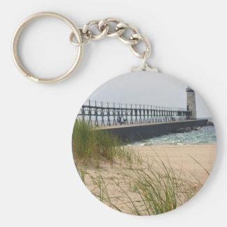 Manistee Lighthouse Basic Round Button Keychain