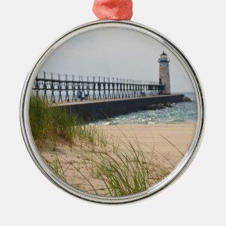 Manistee Lighthouse Metal Ornament