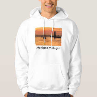 Manistee Lighthouse Sunset Sailboat Hoodie