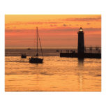 Manistee Lighthouse Sunset Sailboat Photo