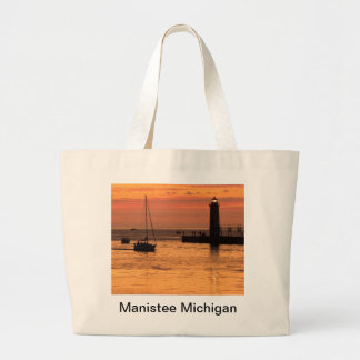 Manistee Michigan Lighthouse Sunset Tote Canvas Bag