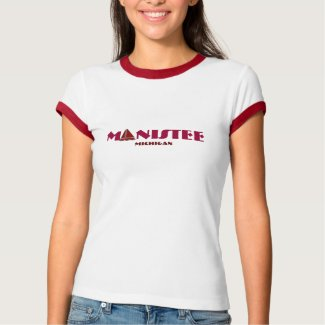 Manistee, Michigan - with red Sailboat Icon shirt