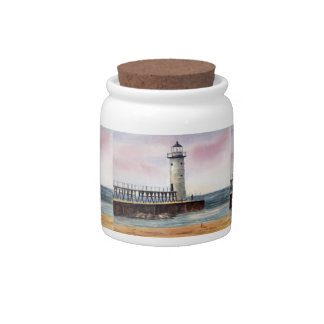 Manistee North Pierhead Lighthouse Candy Jar
