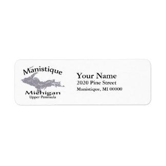 Manistique Michigan Map Design Return Address Return Address Label