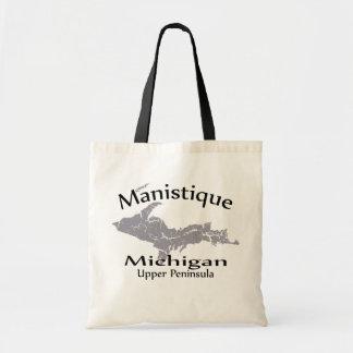 Manistique Michigan Map Design Tote Bag