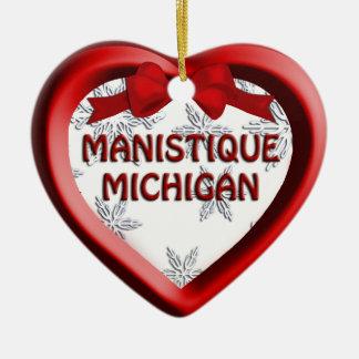 Manistique Michigan Snowflakes Heart Ornament
