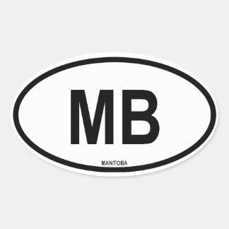 """Manitoba """"MB """" Pegatina Ovalada"""