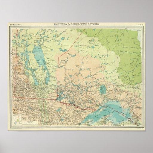 Manitoba y Ontario del noroeste Póster
