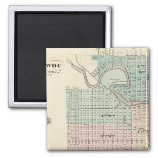 Manitowoc, Sheboygan and Hilbert, Wis 2 Inch Square Magnet