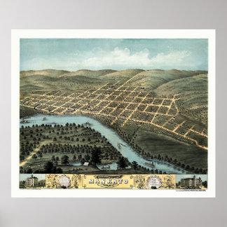 Mankato, mapa panorámico del manganeso - 1870 posters