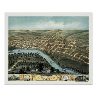 Mankato, mapa panorámico del manganeso - 1870 póster