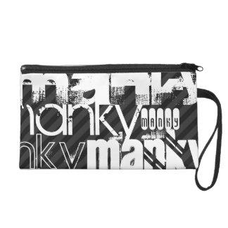 Manky; Black & Dark Gray Stripes Wristlet