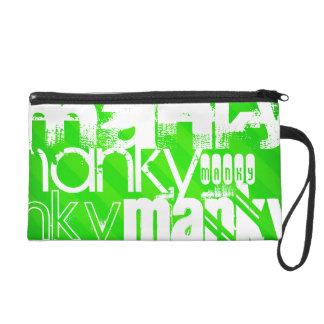 Manky; Neon Green Stripes Wristlet